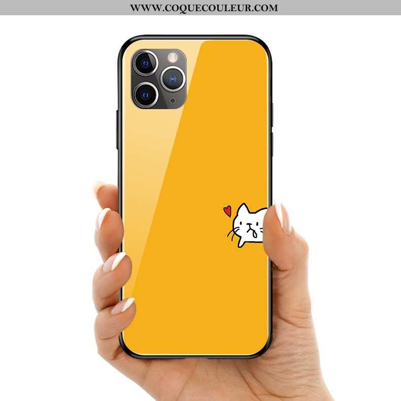 Étui iPhone 11 Pro Max Protection Petit Silicone, Coque iPhone 11 Pro Max Verre Jaune