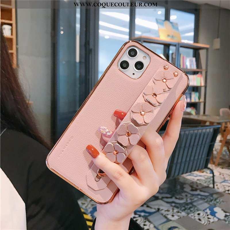 Étui iPhone 11 Pro Max Légère Support Coque, Coque iPhone 11 Pro Max Cuir Antidérapant Rose