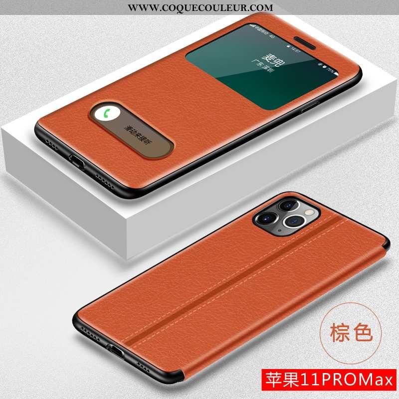 Étui iPhone 11 Pro Max Cuir Coque Clamshell, iPhone 11 Pro Max Fluide Doux Marron