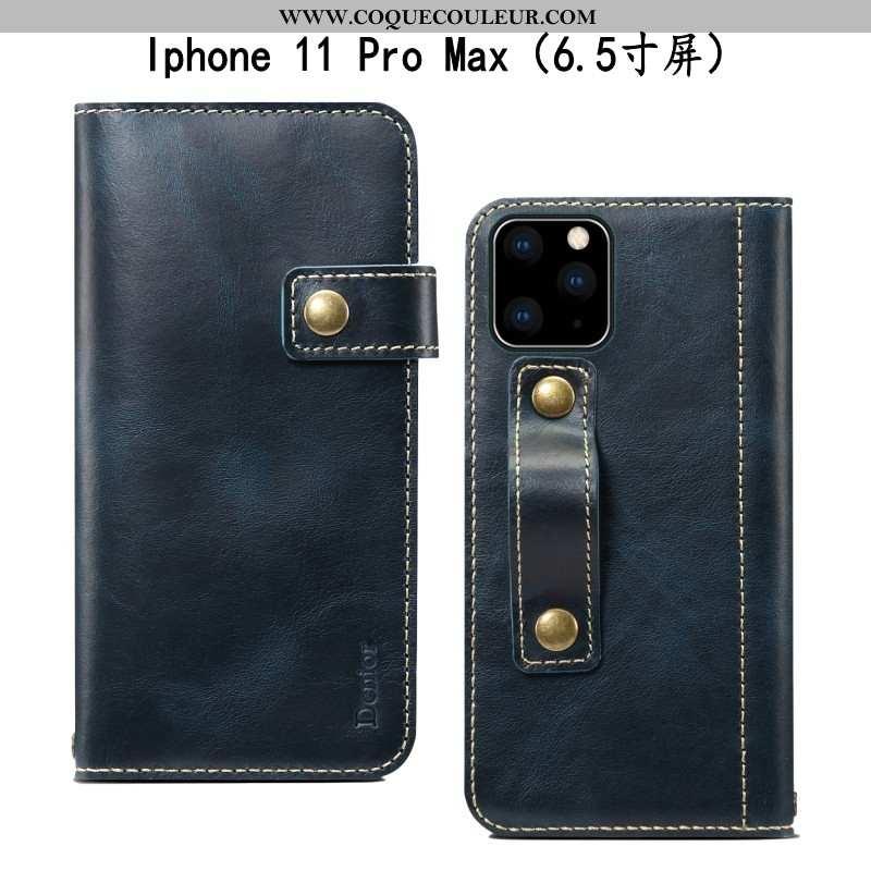 Coque iPhone 11 Pro Max Cuir Bovins Incassable, Housse iPhone 11 Pro Max Fluide Doux Bleu Marin Bleu