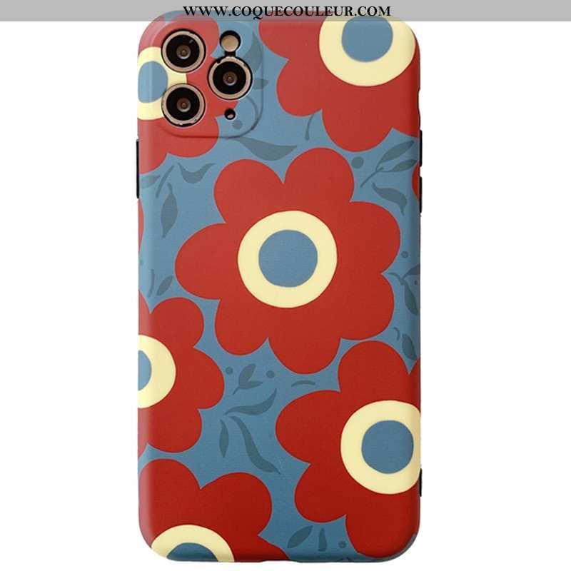 Housse iPhone 11 Pro Max Silicone Créatif Coque, Étui iPhone 11 Pro Max Protection Floral Rouge