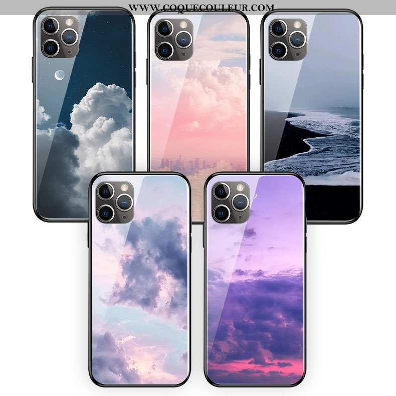 Housse iPhone 11 Pro Max Verre Blanc Coque, Étui iPhone 11 Pro Max Silicone Simple Violet