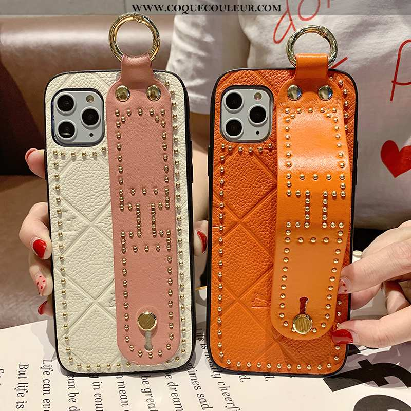 Housse iPhone 11 Pro Max Cuir Véritable Luxe Orange, Étui iPhone 11 Pro Max Tendance Cuir Orange