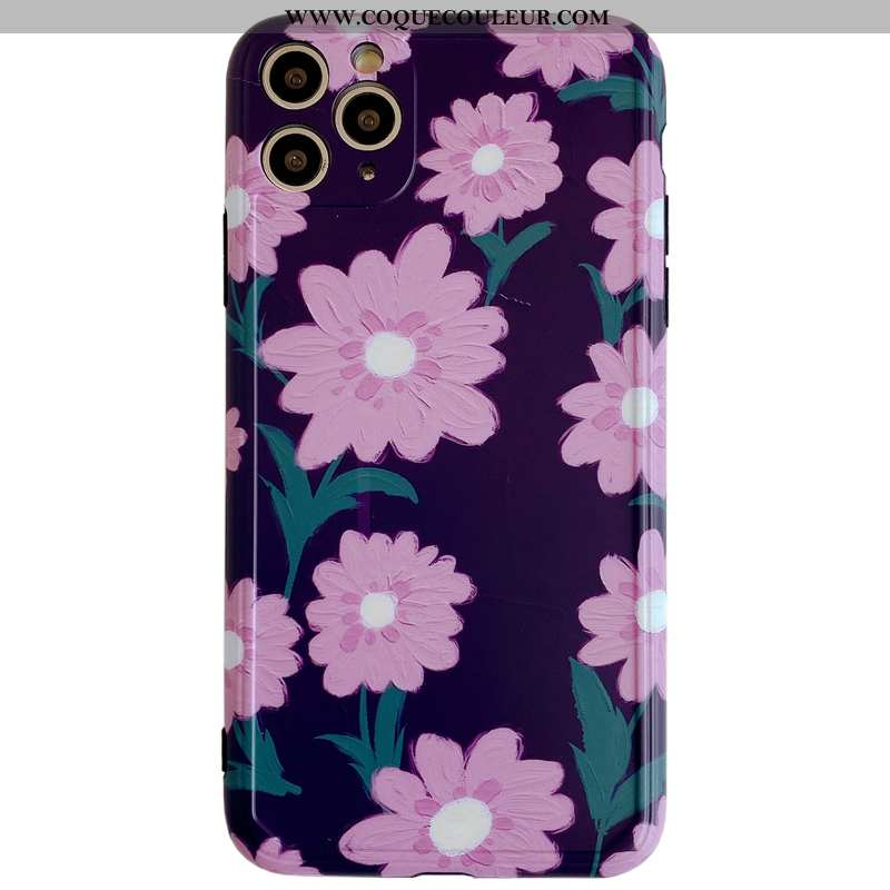 Housse iPhone 11 Pro Max Personnalité Vent Tout Compris, Étui iPhone 11 Pro Max Créatif Fleurs Viole
