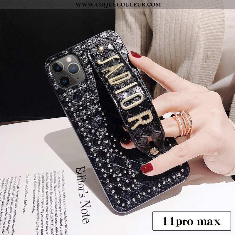 Coque iPhone 11 Pro Max Tendance Célébrité Luxe, Housse iPhone 11 Pro Max Cuir Luxe Noir