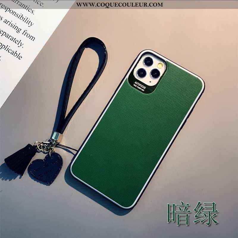 Étui iPhone 11 Pro Max Tendance Coque Incassable, iPhone 11 Pro Max Cuir Personnalité Verte