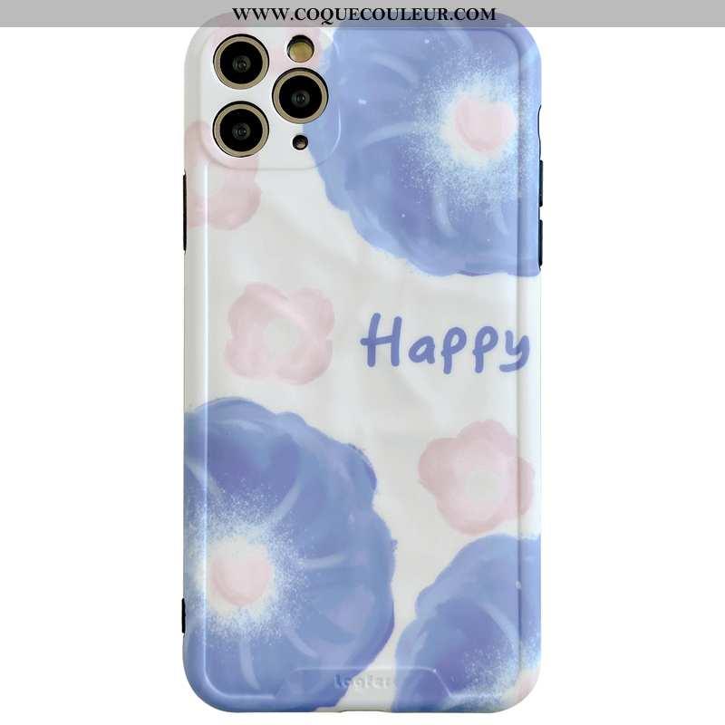 Coque iPhone 11 Pro Max Personnalité Protection Fleurs, Housse iPhone 11 Pro Max Créatif Bleu
