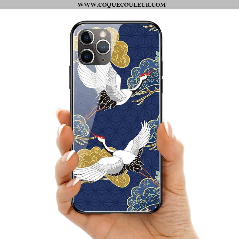 Coque iPhone 11 Pro Max Silicone Art Personnalité, Housse iPhone 11 Pro Max Verre Bleu
