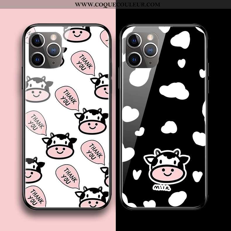 Étui iPhone 11 Pro Max Verre Protection Coque, Coque iPhone 11 Pro Max Dessin Animé Silicone Noir