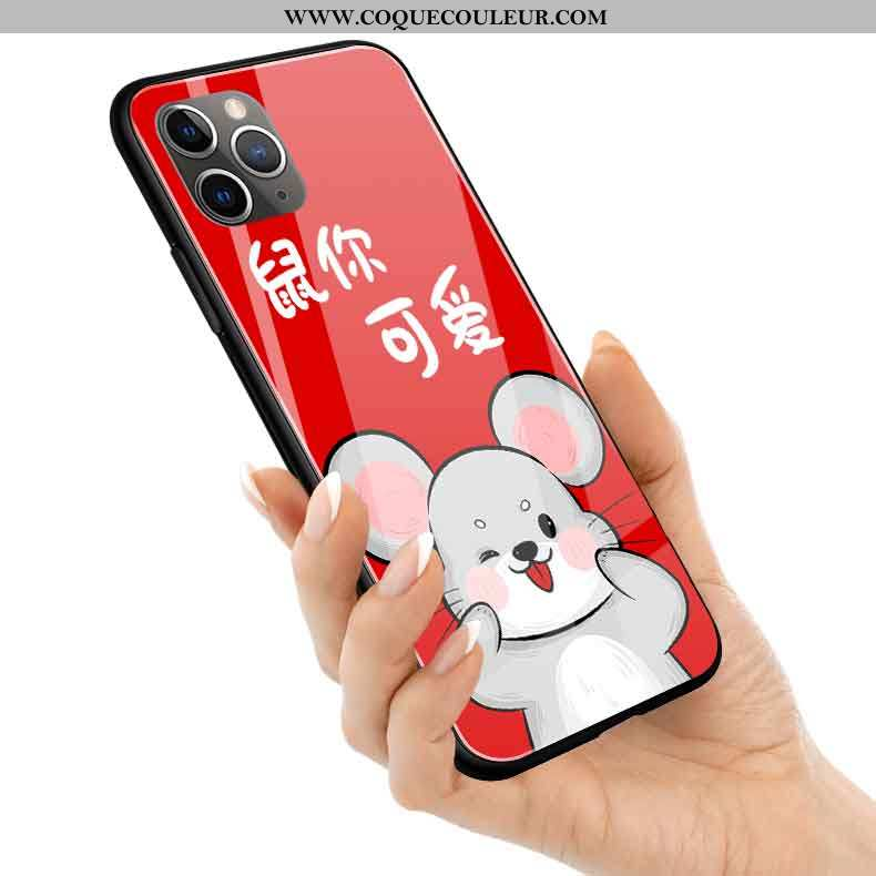 Coque iPhone 11 Pro Max Protection Silicone Rat, Housse iPhone 11 Pro Max Verre Rouge