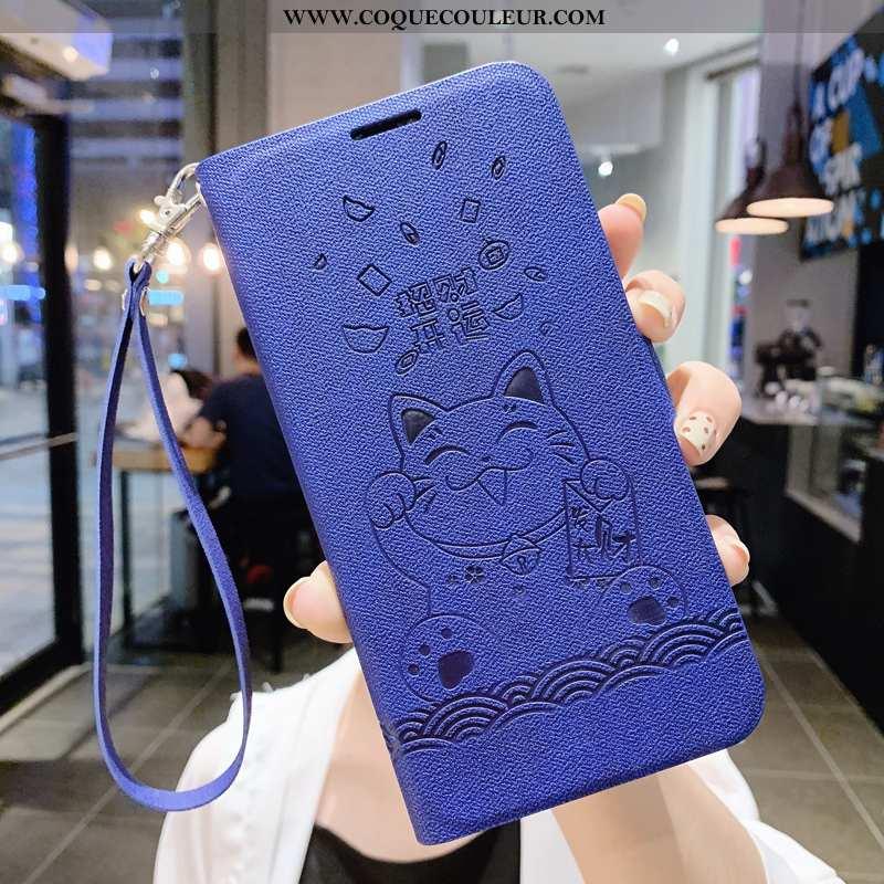 Étui iPhone 11 Pro Max Créatif Luxe Téléphone Portable, Coque iPhone 11 Pro Max Cuir Simple Bleu