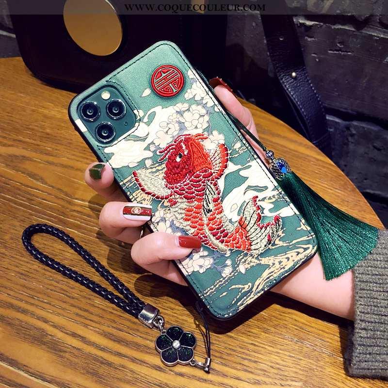 Coque iPhone 11 Pro Protection Style Chinois Vert, Housse iPhone 11 Pro Ornements Suspendus Téléphon