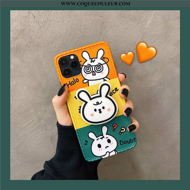 Étui iPhone 11 Pro Silicone Téléphone Portable Orange, Coque iPhone 11 Pro Dessin Animé Support Oran