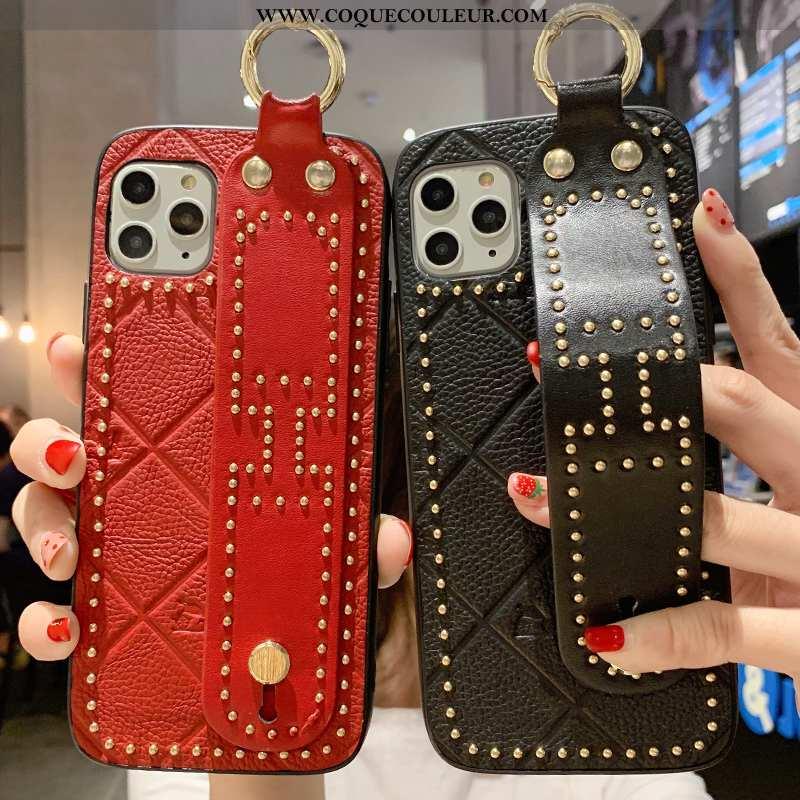 Étui iPhone 11 Pro Cuir Luxe Créatif Véritable, Coque iPhone 11 Pro Mode Rouge