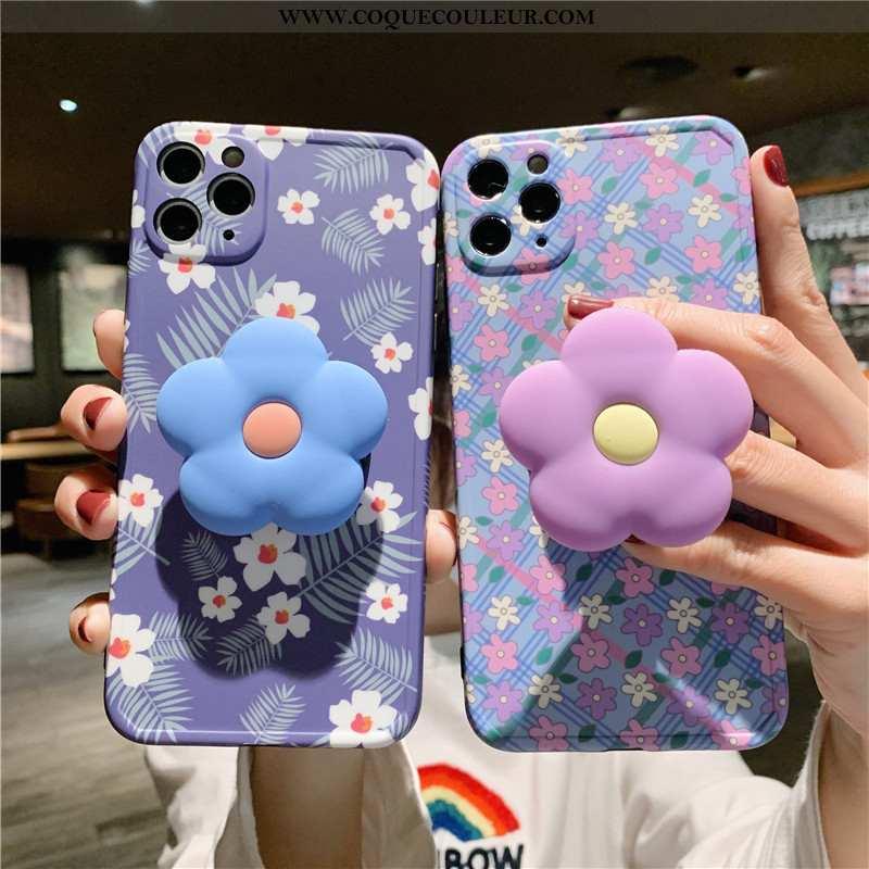 Étui iPhone 11 Pro Fluide Doux Frais Tendance, Coque iPhone 11 Pro Silicone Fleurs Bleu