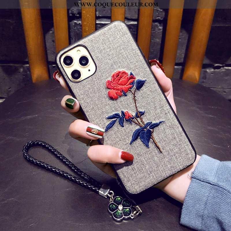 Étui iPhone 11 Pro Broderie Fluide Doux Simple, Coque iPhone 11 Pro Tendance Fleur Gris
