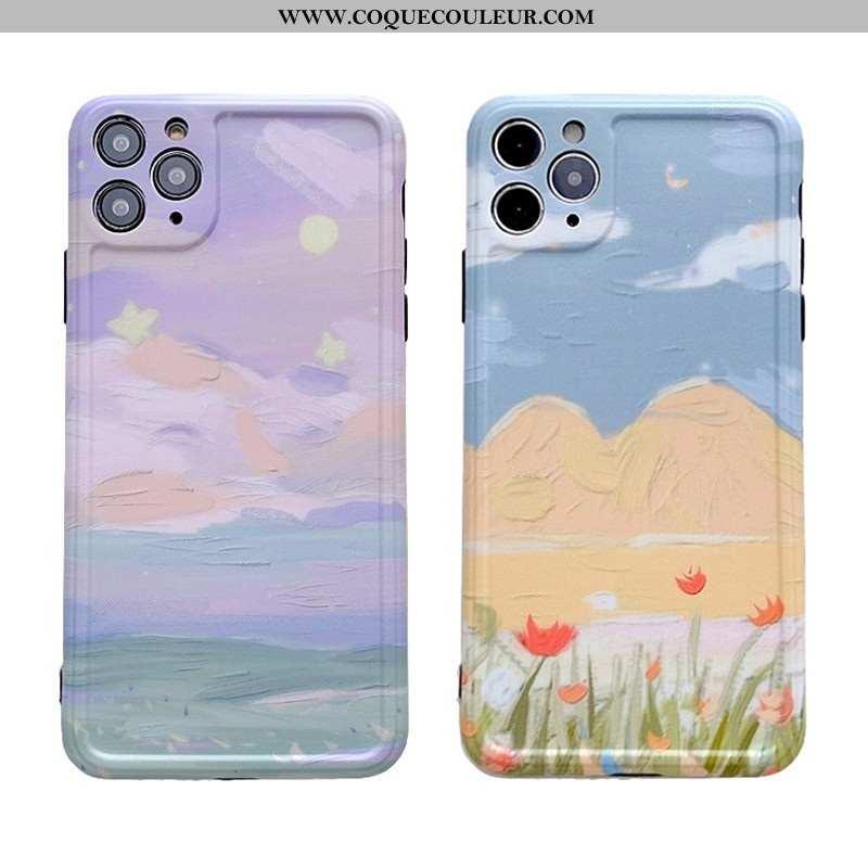 Coque iPhone 11 Pro Silicone Téléphone Portable Peinture À L'huile, Housse iPhone 11 Pro Fluide Doux