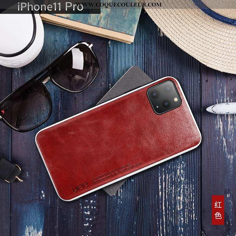 Housse iPhone 11 Pro Cuir Véritable Cuir Bovins, Étui iPhone 11 Pro Tendance Net Rouge
