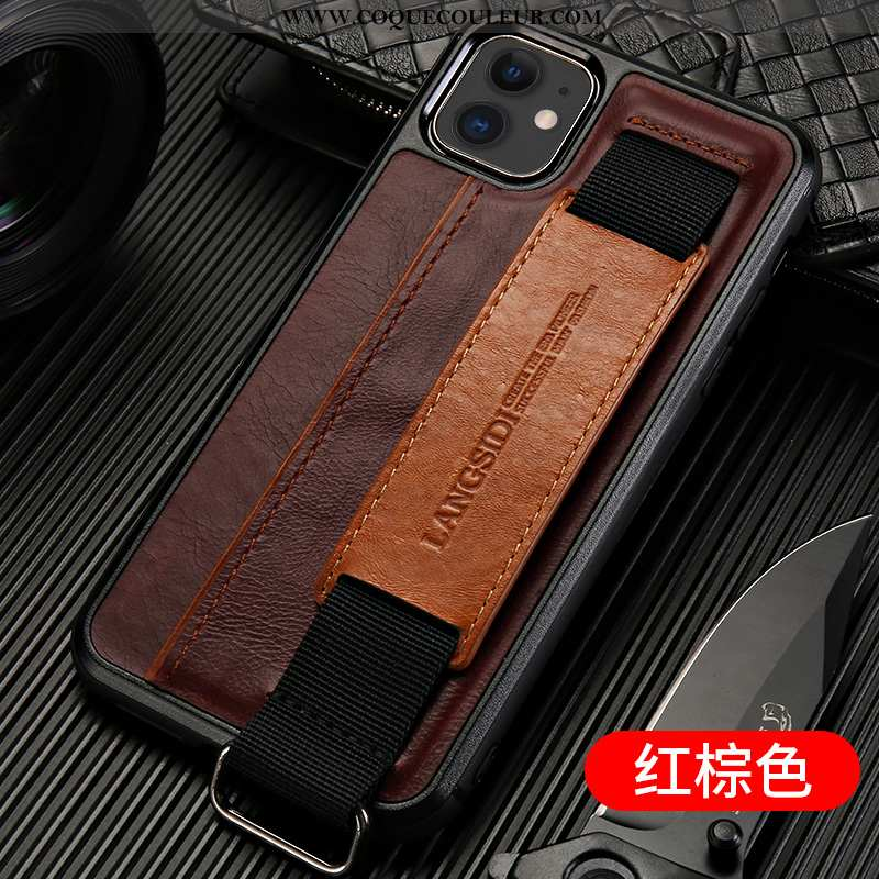 Étui iPhone 11 Cuir Véritable Incassable Personnalité, Coque iPhone 11 Tendance Téléphone Portable M