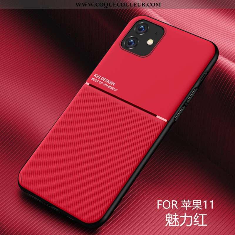 Étui iPhone 11 Fluide Doux Nouveau Cuir, Coque iPhone 11 Protection Tendance Rouge