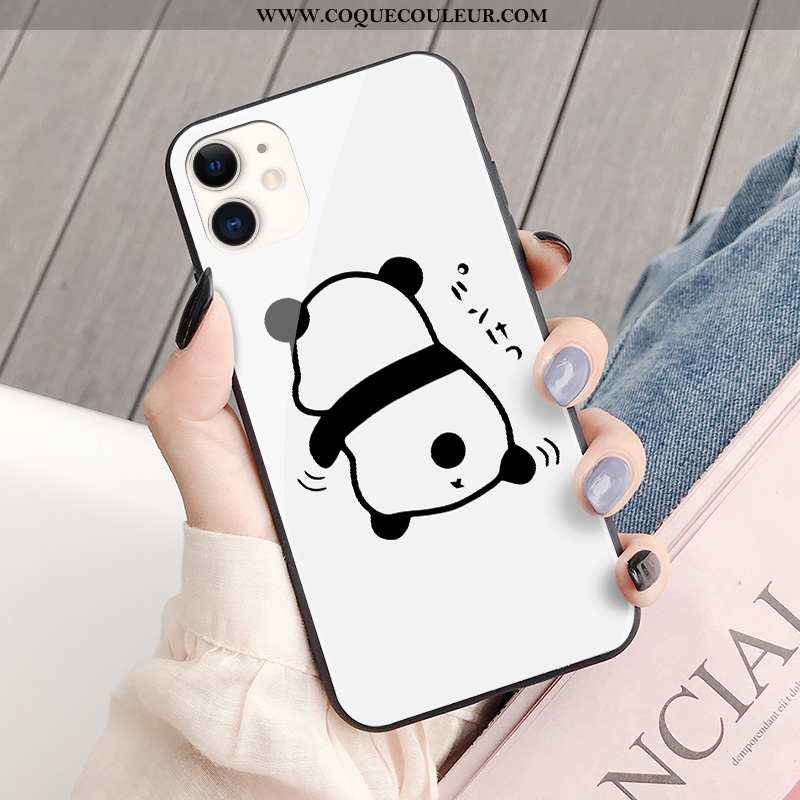 Étui iPhone 11 Protection Chat Coque, Coque iPhone 11 Verre Ours Blanche