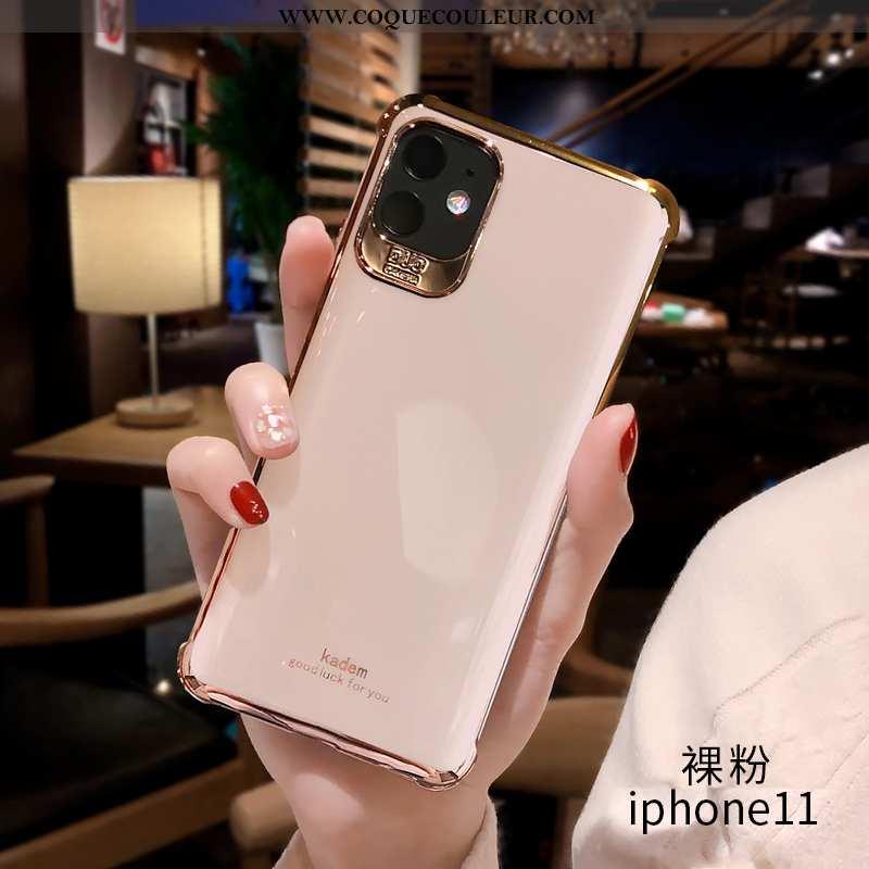 Coque iPhone 11 Fluide Doux Personnalité Luxe, Housse iPhone 11 Silicone Étui Rose