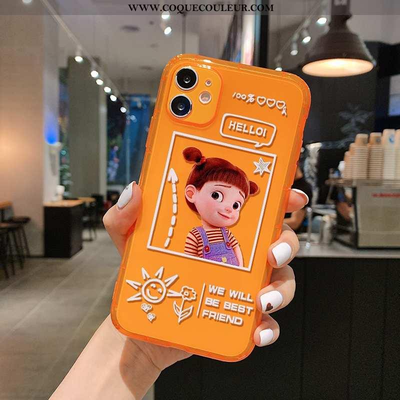 Housse iPhone 11 Charmant Dessin Animé Transparent, Étui iPhone 11 Fluide Doux Pu Orange