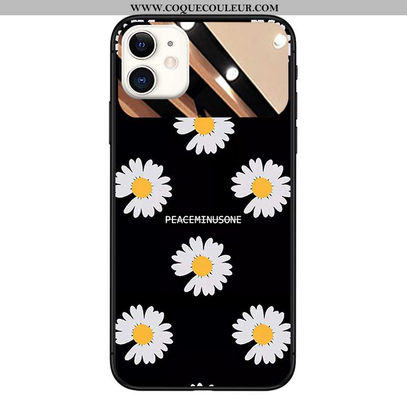 Étui iPhone 11 Verre Coque Miroir, iPhone 11 Tendance Petite Marguerite Noir