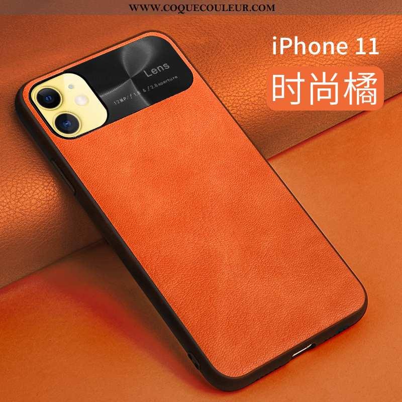 Housse iPhone 11 Cuir Protection Légère, Étui iPhone 11 Silicone Orange