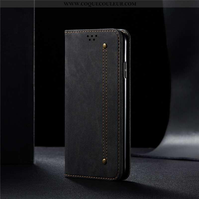 Étui iPhone 11 Cuir Véritable Luxe, Coque iPhone 11 Cuir Business Noir