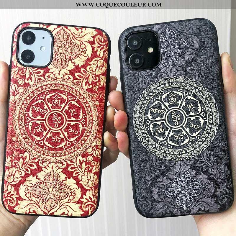 Étui iPhone 11 Gaufrage Téléphone Portable Coque, Coque iPhone 11 Tendance Grand Rouge