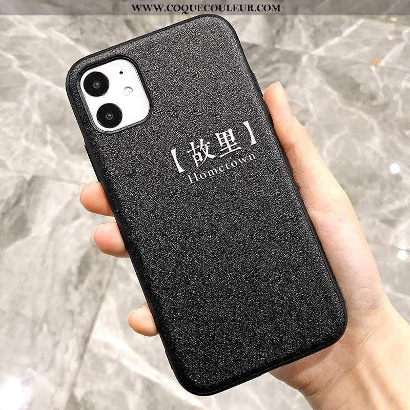Étui iPhone 11 Charmant Téléphone Portable Soie Mulberry, Coque iPhone 11 Gaufrage Noir