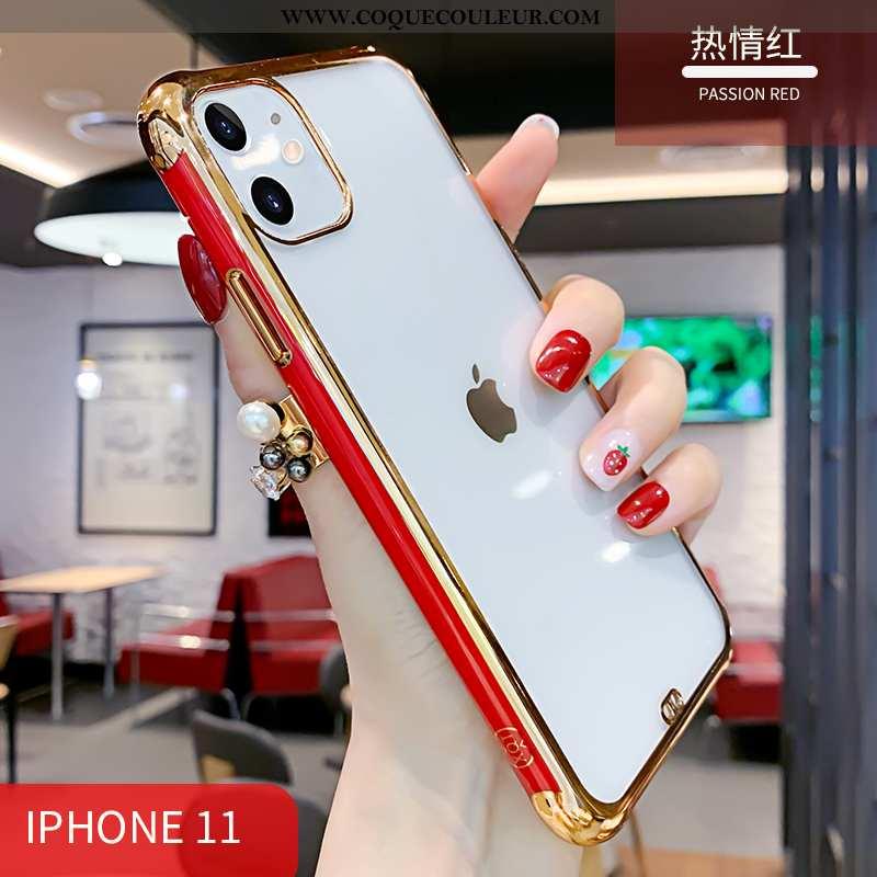 Étui iPhone 11 Tendance Fluide Doux Simple, Coque iPhone 11 Légère Rouge