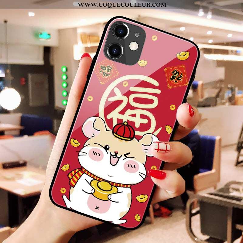 Étui iPhone 11 Verre Rouge Charmant, Coque iPhone 11 Créatif Dessin Animé