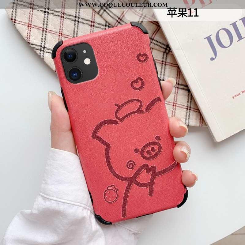 Étui iPhone 11 Tendance Coque Simple, iPhone 11 Cuir Rouge