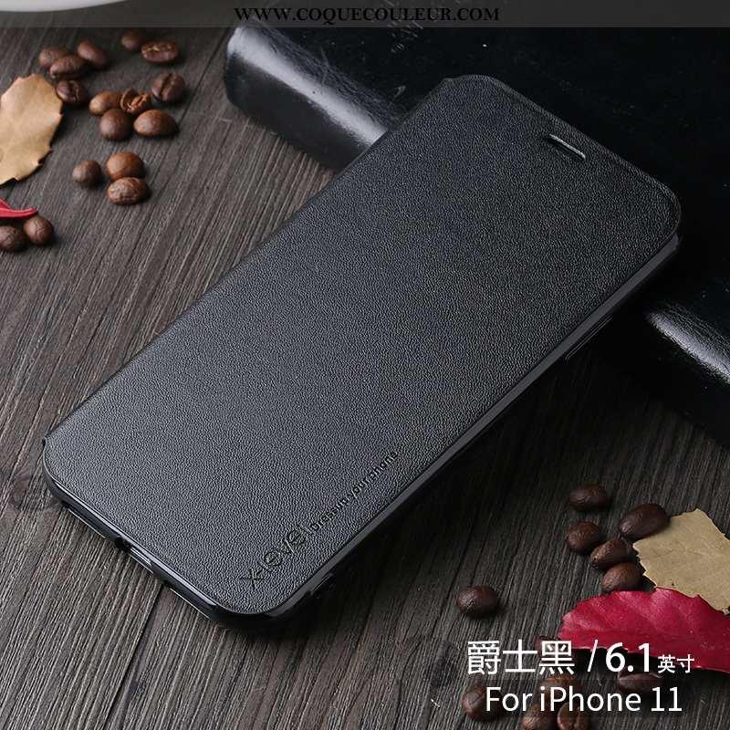 Étui iPhone 11 Créatif Cuir Nouveau, Coque iPhone 11 Ultra Tendance Noir