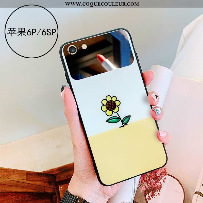 Étui iPhone 6/6s Plus Personnalité Miroir Coque, Coque iPhone 6/6s Plus Verre Téléphone Portable Jau