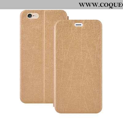 Coque iPhone 6/6s Plus Cuir Téléphone Portable Étui, Housse iPhone 6/6s Plus Fluide Doux Or Doré