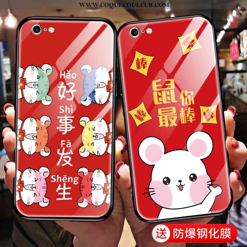Étui iPhone 6/6s Plus Dessin Animé Nouveau Difficile, Coque iPhone 6/6s Plus Charmant Verre Rouge