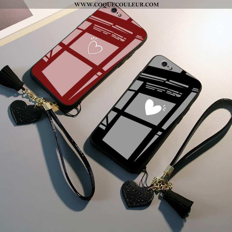 Étui iPhone 6/6s Mode Amoureux Étui, Coque iPhone 6/6s Protection Verre Noir