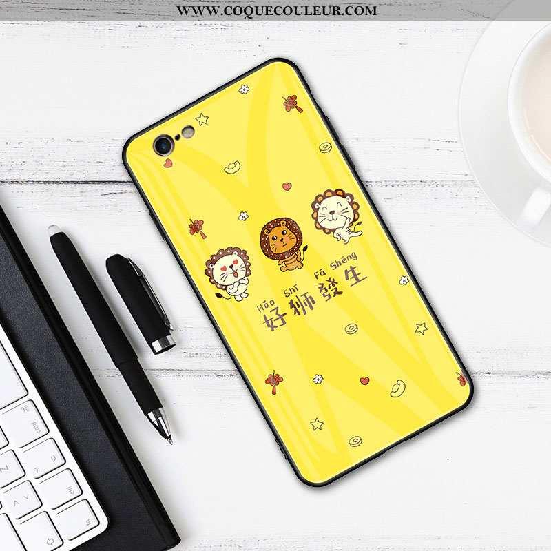 Housse iPhone 6/6s Mode Animal Étui, Étui iPhone 6/6s Protection Verre Jaune