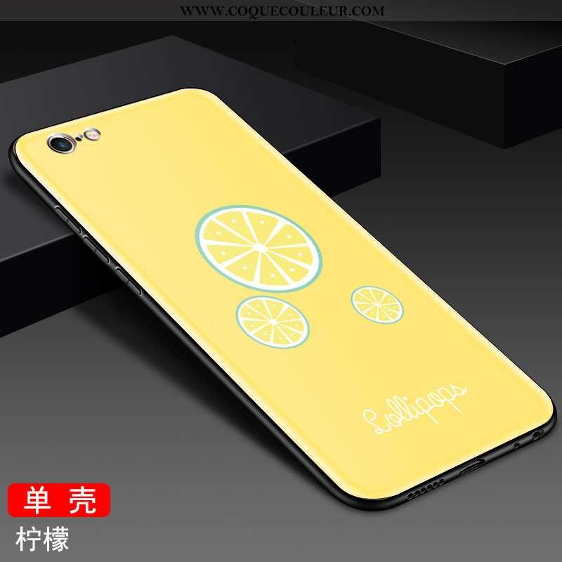 Coque iPhone 6/6s Verre Protection Charmant, Housse iPhone 6/6s Personnalité Dessin Animé Jaune