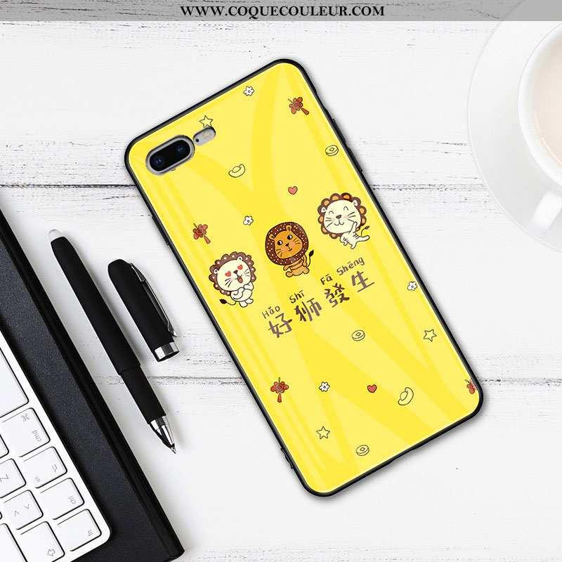 Coque iPhone 7 Plus Fluide Doux Protection Pu, Housse iPhone 7 Plus Mode Tout Compris Jaune