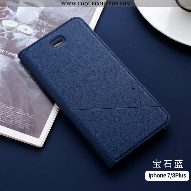 Étui iPhone 7 Plus Fluide Doux Clamshell Légère, Coque iPhone 7 Plus Silicone Incassable Bleu