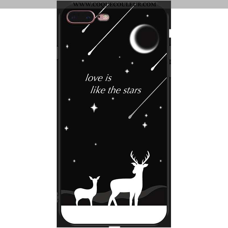 Housse iPhone 7 Plus Fluide Doux Coque Noir, Étui iPhone 7 Plus Incassable Téléphone Portable Noir