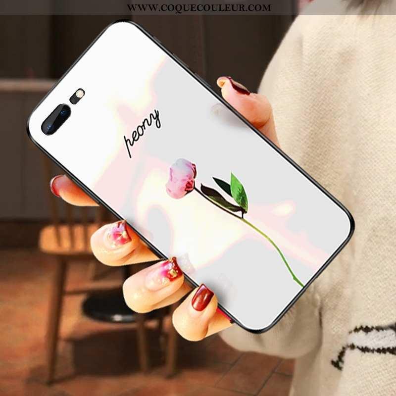 Coque iPhone 7 Plus Verre Blanc Pu, Housse iPhone 7 Plus Tendance Nouveau Blanche