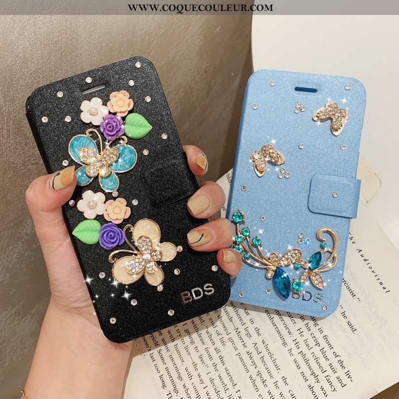 Housse iPhone 7 Plus Cuir Protection Bleu, Étui iPhone 7 Plus Modèle Fleurie Bleu
