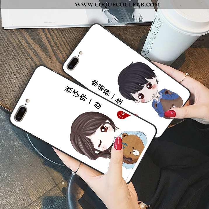 Housse iPhone 7 Plus Tendance Blanc Téléphone Portable, Étui iPhone 7 Plus Fluide Doux Anneau Blanch