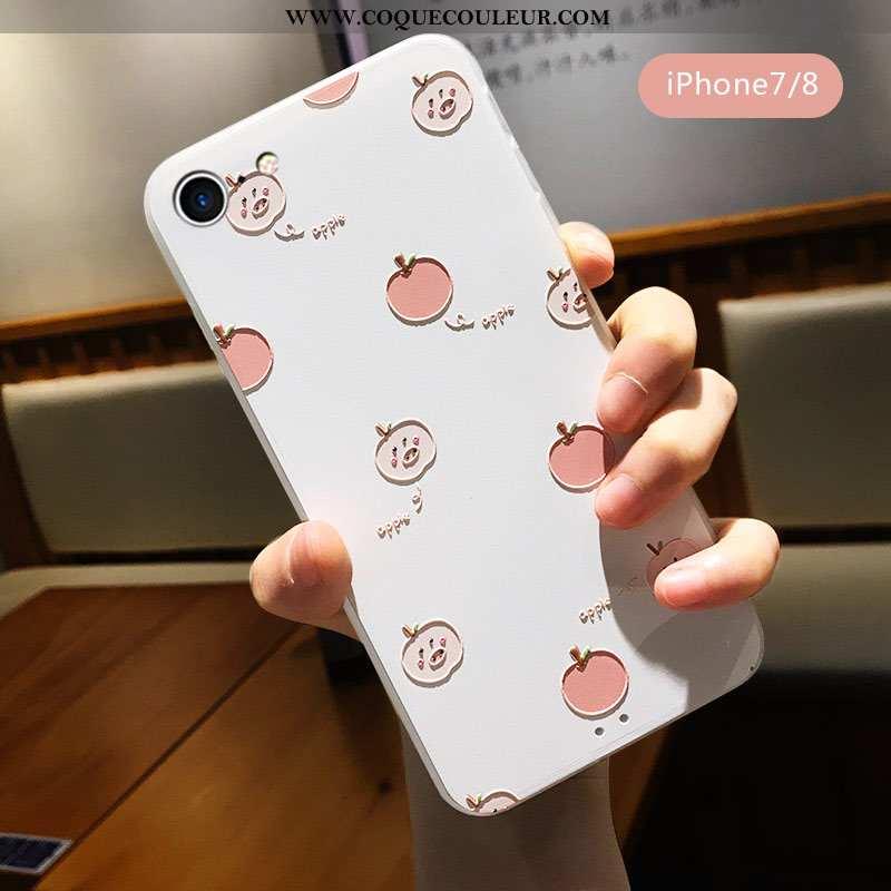 Coque iPhone 7 Créatif Délavé En Daim Téléphone Portable, Housse iPhone 7 Gaufrage Tout Compris Blan