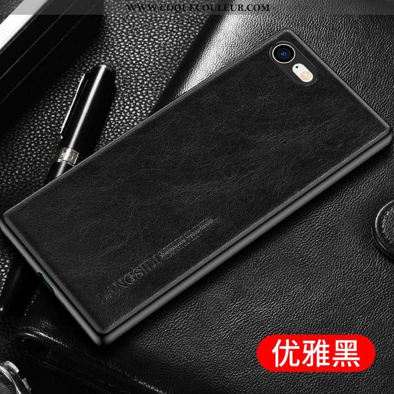 Coque iPhone 7 Luxe Business Bovins, Housse iPhone 7 Personnalité Cuir Véritable Noir